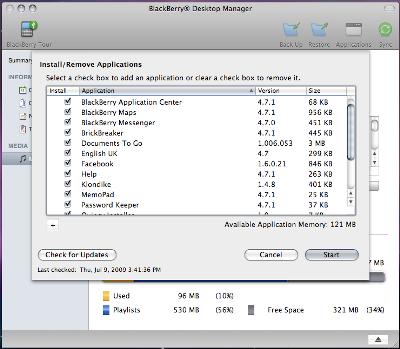 Quản lý các phần mềm trền điện thoại BlackBerry