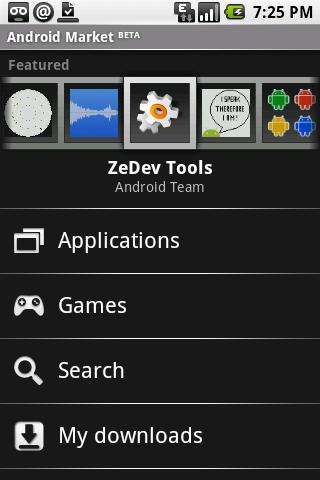 Android Market. Ảnh chụp màn hình