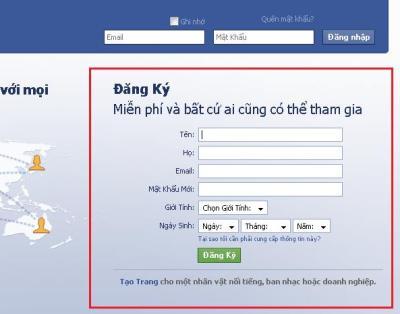 Giao diện đăng ký ở trang chủ Facebook Tiếng Vệt