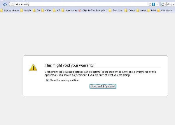 Thông điệp cảnh báo của Firefox