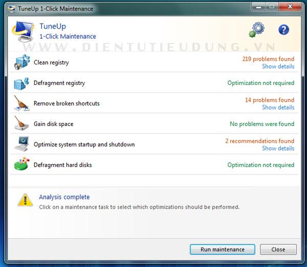 Cửa sổ TuneUp 1-Click Maintenance
