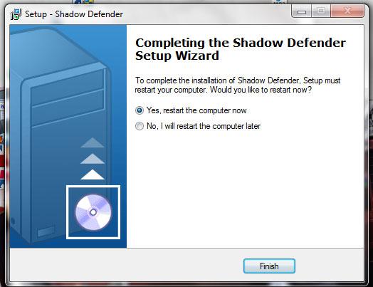 Shadow Defender yều cầu khởi động lại để hoàn tất cài đặt