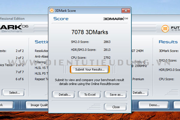 Kết quả test với 3DMark