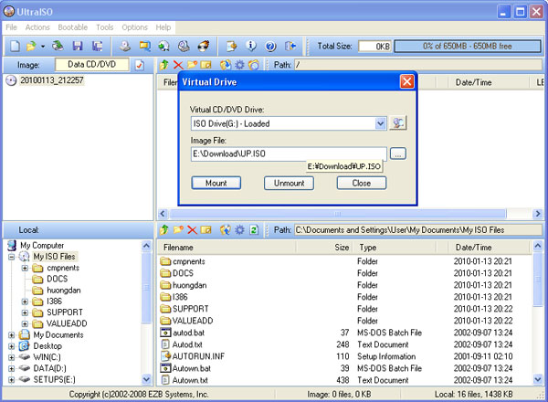 Tạo ổ ảo chạy file iso