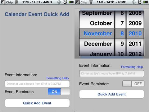 Calendar Event Quick Ad