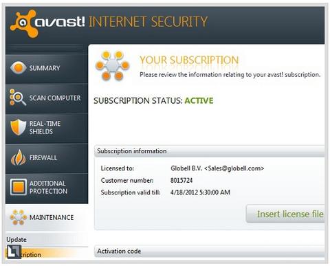 Box miến phí, Avast, Internet Security 2012