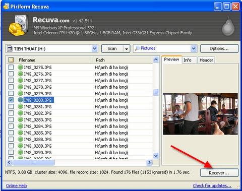 Recuva, khôi phục, recover, backup, top 100 apps, thủ thuật, mẹo vặt, tip, trick