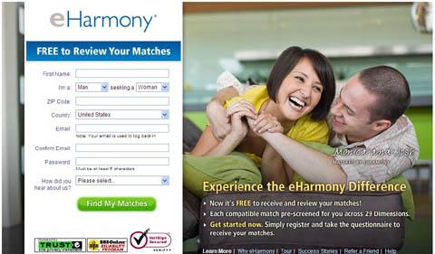 eHarmony - website mai mối lớn nhất Mỹ có tới hơn 12 triệu thành viền tham gia. Ảnh chụp màn hình