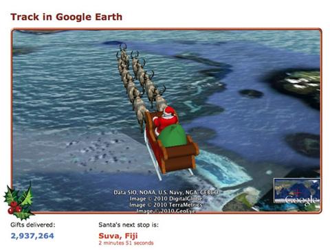 Tracking Santa in Google Earth