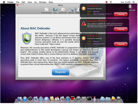 Apple Mac Defender malware