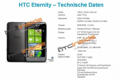 HTC Eternity, HTC, Eternity, Windows Phone 7