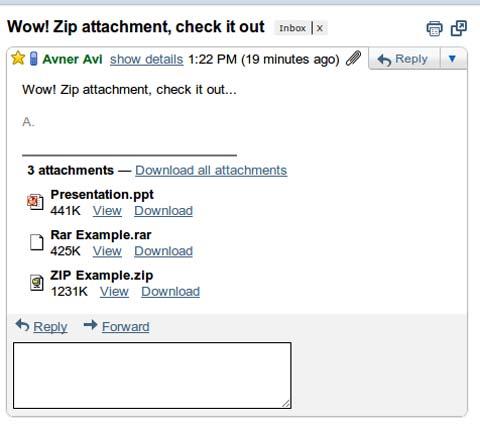 Gmail, ZIP, RAR