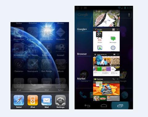 iOS 5, Android 4.0 Ice Cream Sandwich, Google, Apple