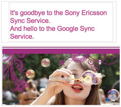 Sony Ericsson, Sony Ericsson Sync, Google, Google Sync