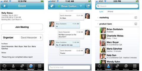 Microsoft, Lync 2010, iPhone, iPad, Apple