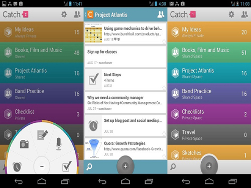 Mobile-news, EverNote, Catch Notes, Android, Google, Facebook, ColorNote, Gnotes, Gmail, Google Drive