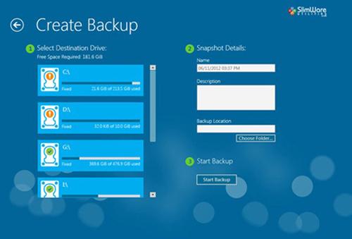 System Properties, System Restore, Start Backup, Creat Backup