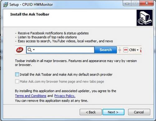 HWMonitor, Download, Ask Toolbar, Wear Level, laptop