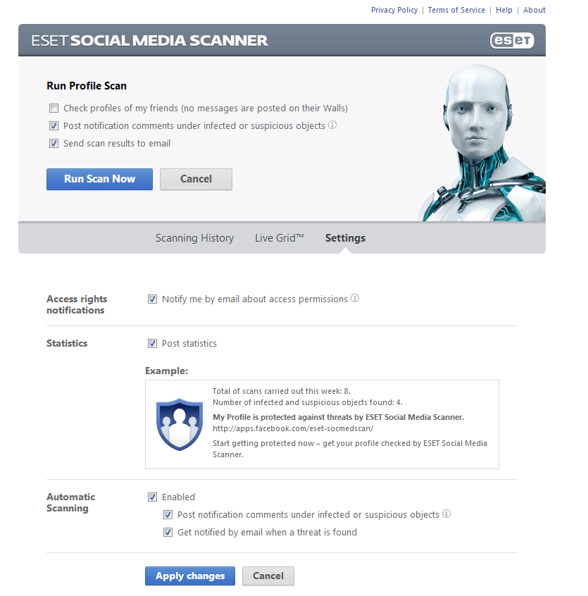 Facebook, Auto-Scan,  email, Scanning History