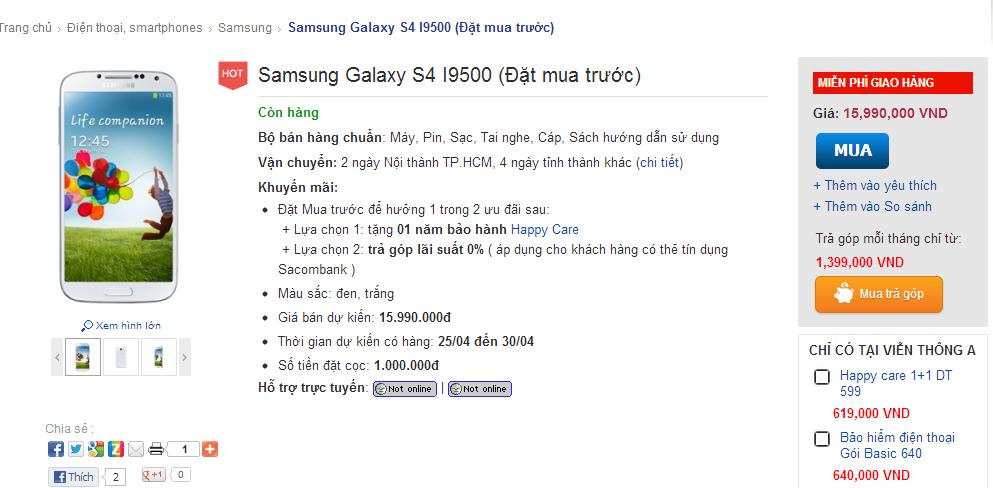 Samsung, Galaxy, Galaxy S4, giá bán, mobile-news