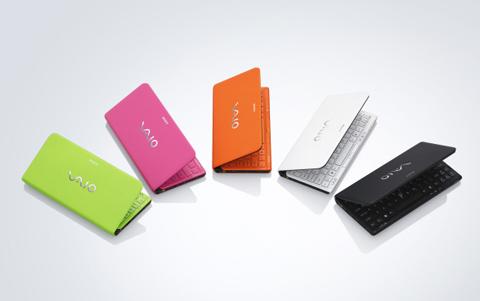 Sony Vaio P với 5 lựa chọn màu sắc. Ảnh: Sony
