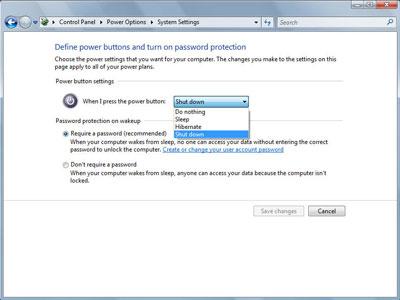 Chọn tính năng Shutdown cho Power button