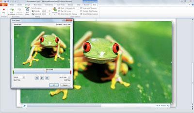 Chèn và chình sửa video trực tiếp trền PowerPoint 2010. Ảnh: Microsoft