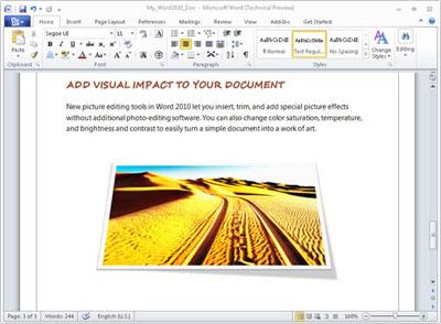 Công cụ sửa ảnh trong Word 2010 cho chỉnh sửa mà không cần phần mềm sửa ảnh. Ảnh: Microsoft