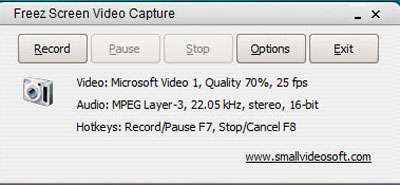 Giao diện chính của Freez Screen Video Capture