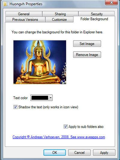 Chọn hình nền cho thư mục với Vista Folder Background