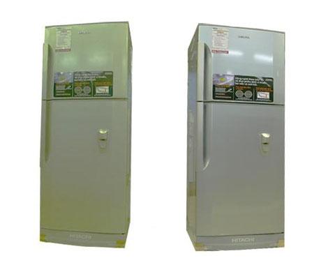 tủ lạnh Hitachi 19AGV7VDSLS với 2 màu xanh nhạt và xám
