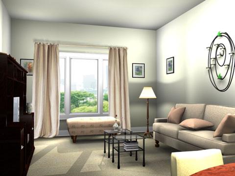 thiết kế phòng khách cho căn hộ khép kín