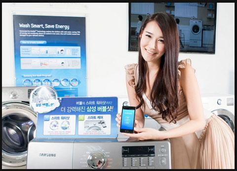 Samsung, Ecobubble, Bubbleshot, máy giặt kết nối mạng, tự đánh giá kỹ thuật