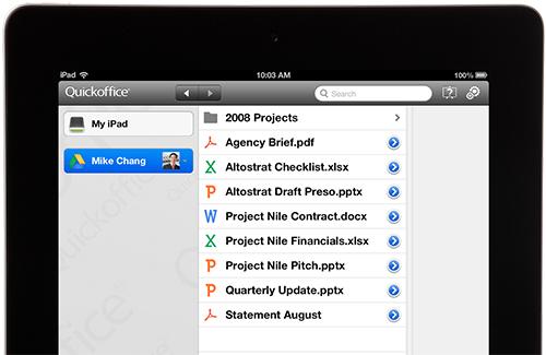 Google, QuickOffice, apple, ipad
